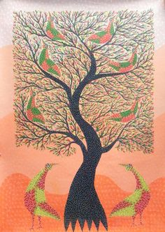 GOND ART, GOND PAINTINGS, INDIAN TRIBAL ART, GOND TRIBAL ART, TRIBAL ART GALLERIES, GOND ART GALLERY, TRIBAL ARTISTS at MUST ART GALLERY IN ... Anand Kumar Shyam