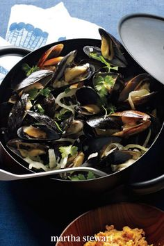 Sweet shallots, the anise of fresh fennel, and an unapologetic amount of fresh lemon zest make a deliciously memorable base for mussels steamed in white wine. #marthastewart #recipes #recipeideas #seafoodrecipes #seafooddinners #seafood Fish Recipes, Seafood Recipes, Dinner Recipes, Seafood Dinner, Mussels, Sea Food, Fennel, White Wine, Delicious Food