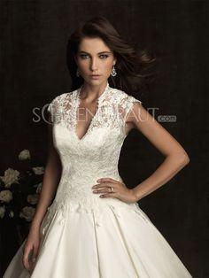 A-Linie V-Ausschnitt Satin Hochzeitskleider mit Kathedrale-Schleppe [#UD8526] - schoenebraut.com