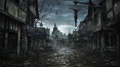 Обои Заброшенный город, останки человека подвешенного на цепях, художник Jonas De Ro