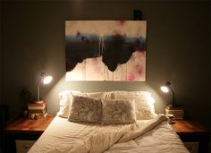 Abstract / non-objective painting as a headboard