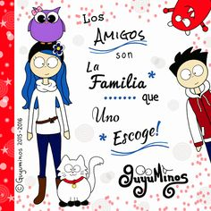 Friends are the family we choose ourselves! We now have more than 80,000 followers on G+ https://plus.google.com/collection/M3L-b Gracias por ser parte de la Familia!!! Ya somos más de 80,000 en Google+!!! :D #guyuminos #amigos #familia #seguidores #cute #kawaii #ilustracion #frases #tarjetas #googleplus
