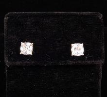 Sterling Silver Avon Square CZ Stud Earrings