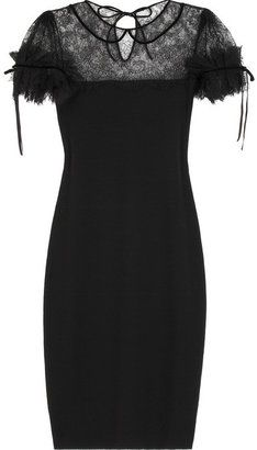 ShopStyle: Red Valentino Lace-trimmed wool dress