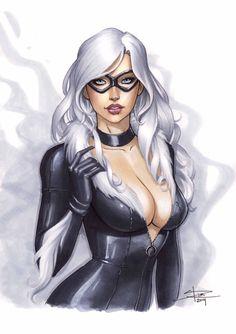 black cat, Marvel, and felicia hardy image Spiderman Black Cat, Black Cat Marvel, Black Cat Comics, Comic Book Characters, Comic Character, Comic Books Art, Female Characters, Comic Art, Marvel Comic Universe