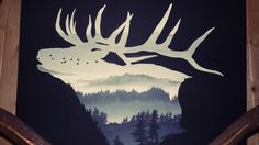 This bull elk silhouette combines rustic style, the misty forest and rugged elk, with a more modern style, the framing in matte black. The black continues around the edges so there is no need to frame(see photo). This painting measures 20 X 24 inches and is acrylic paint on canvas.  Please let me know if I can do a custom order JUST for you