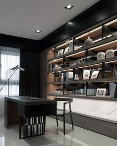 Top 70 Best Modern Home Office Design Ideas - Contemporary Working Spaces Office Cabinet Design, Home Office Cabinets, Bureau Design, Shelf Design, Office Interior Design, Küchen Design, Office Interiors, Home Interior, Design Ideas