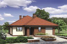 Projekt domu parterowego Murator M132 Wariantowy o pow. 128,2 m2 z garażem 1-st., z dachem kopertowym, z tarasem, sprawdź! Simple House Plans, Modern House Plans, House Layout Plans, House Layouts, Hut House, House Construction Plan, Sims House Design, Home Decor Styles, Home Projects