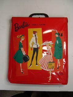 Vintage 1960s Mattel Barbie Ponytail Case Carrier Doll Mod Red