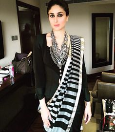 Contemporary twist to an ethnic look, so classy and chic // Kareena Kapoor Khan in dev r nil sari paired with Christian Lacroix vintage jacket Saree Draping Styles, Saree Styles, Indian Attire, Indian Ethnic Wear, Indian Style, Kareena Kapoor Khan, Indian Dresses, Indian Outfits, Indian Clothes