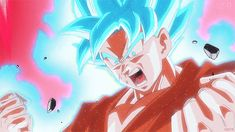 Goku going Super Saiyajin god Super Saiyan (Super saiyajin blue) while going Kaio ken x10