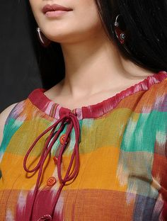 Multicolored Front Tie-Up Handloom Cotton Dress Chudidhar Designs, Churidhar Neck Designs, Salwar Neck Designs, Neck Designs For Suits, Kurta Neck Design, Sleeves Designs For Dresses, Neckline Designs, Kurta Designs Women, Blouse Neck Designs