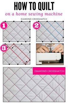 Year of Machine Quilting - The Quilting Company - The diamond crosshatch quilting design uses a free-motion walking foot and is generally used as a b - Machine Quilting Tutorial, Quilting 101, Machine Quilting Patterns, Quilting Stencils, Longarm Quilting, Quilting Tutorials, Quilting Ideas, Machine Embroidery, Quilting Stitch Patterns