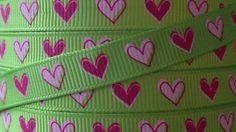 3/8 Grosgrain Ribbon - Printed Grosgrain Ribbon - Pink Heart Ribbon - Ribbon By The Yard - Ribbon Supplies - Valentines Day Ribbon