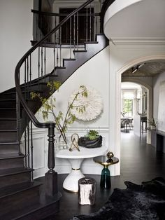 Glam Meets Grit Inside This Hinsdale, Illinois Home Home Interior Design, Interior And Exterior, Interior Decorating, Foyer Decorating, Design Apartment, Apartment Ideas, Staircase Design, Black Staircase, Foyer Staircase