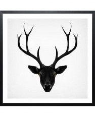 The Black Deer-Framed Art Print