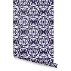 Geo Flowers Navy Peel & Stick Fabric Wallpaper Repositionable - Simple Shapes Wall Decals, Furniture, and Accessories