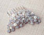 Pearl, Crystal Bridal hair combs, Crystal Hair Clip, Rhinestone Hair Accessories, Vintage Style Hairpiece, Pearl Wedding Hair Accessories