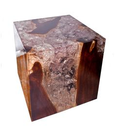 Andrianna Shamaris teak and clear cracked resin side table.