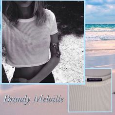 Brandy Melville Ribbed Crop Top BRWNDY MELVILLE slightly see through Ribbed Crop Top.. SUPER CUTE!! ❌❌NO TRADES Brandy Melville Tops Crop Tops