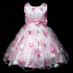 Cap3211 Navidad Rosas Boda Flower Party Girls Vestido Talla 3,4,5,6,7,8 Años