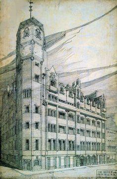 Drawing of Glasgow Herald Building by Charles Rennie Mackintosh