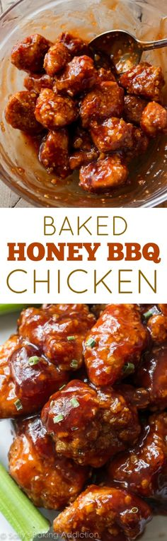 DELICIOUS honey bbq chicken poppers!!! Easy, crunchy, sticky, saucy chicken…