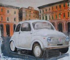 #Fiat 500  € 600,00  Autore: Alfredo Pini  Titolo: Memoria storica  Tecnica: Olio cartone intelaiato  Misura:  70 x 80 cm  Anno:  2012  Incorniciato: Si