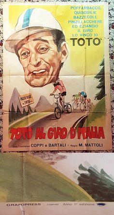TOTÒ AL GIRO D'ITALIA,MANIFESTO LITOGRAFICO ORIGINALE 1949-INTROVABILE 1°EDIZIONE-ORIGINALE!