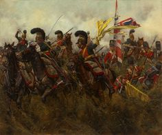 Battle of Quatre Bras, the 6th French Lancers charging against the British 44th Regiment of Foot and trying to capture one of the flags of the 44th