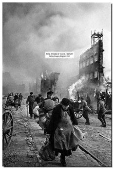German civilians flee Danzig as it burns...March 1945