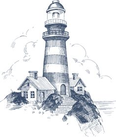 "Photo from album ""Marine PNG"" on Yandex. Lighthouse Drawing, Lighthouse Art, Pencil Art Drawings, Art Drawings Sketches, Ship Drawing, Painting & Drawing, Collage Foto, Landscape Drawings, Pen Art"