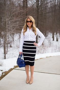 Yes, you can mix patterns at work, stripes and dots work well for this...click through for my outfit details!