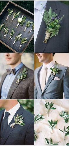 Organic Greenery Decorated Wedding Boutonniere Ideas