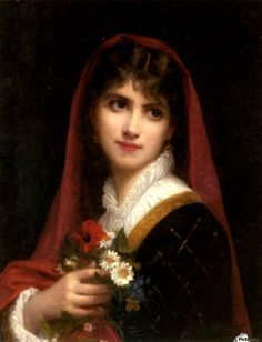 A Young Beauty wearing a Red Veil :: Gustave Doyen - 7 female portraits ( the end of 19 centuries ) in art and painting Classic Paintings, Old Paintings, Beautiful Paintings, Images Vintage, Vintage Artwork, Renaissance Paintings, Renaissance Art, Aesthetic Painting, Aesthetic Art