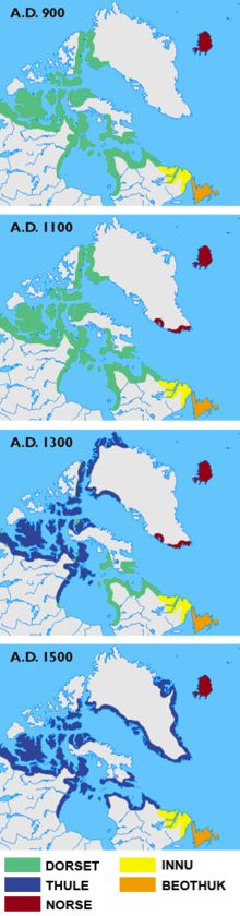 Skræling - the indigenous peoples who defended themselves against the Norse colonial attempts . The green colour shows the Dorset Culture, blue the Thule Culture, red Norse Culture, yellow Innu and orange Beothuk.