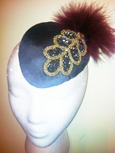 1920's Crystal Encrusted Leaf and Marabou Feather Fascinator-New Years Eve!