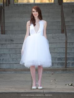 Halter Wedding Gown/ Dress with Tulle Skirt by crisciver on Etsy, $345.95