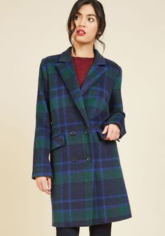 What's Said is Ahead Coat. When everything wonderful has been lauded about this plaid coat, it will still be a sight to behold. #blue #modcloth