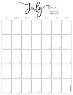 Vertical 2020 Monthly Calendar - Free (and pretty! Monthly Calendar Template, Free Printable Calendar, Monthly Planner, Printable Planner, Free Printables, Monthly Calendars, College Planner, College Tips, School Calendar