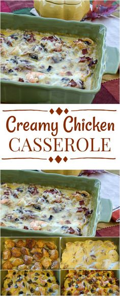 Amazing creamy chicken casserole recipe with mushrooms, bacon, shrimp in a creamy sauce and topped with cheese. Delicioous one-pan dish. Chicken Potato Casserole, Casserole Dishes, Casserole Recipes, Creamy Sauce For Chicken, Cream Of Chicken Soup, Bacon Recipes, Cooking Recipes, Cooking Ideas, Creamy Mashed Potatoes