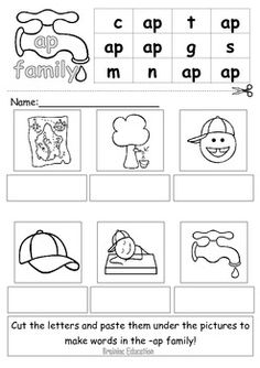 Word Families cut and paste worksheets that are really colorful ...