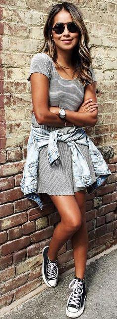 #sincerelyjules #spring #summer #besties  Striped Dress + Denim Jacket + Sneakers