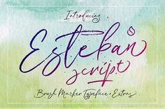 """Befonts introducing new hand brush font """"Esteban Script Font"""". A new fresh & modern script with a calligraphy style, a dancing baseline! Brush calligraphy typeface using dry marker with rapid and spontaneous strokes Best Free Fonts, Handwritten Script Font, Blog Logo, Brush Font, Premium Fonts, New Fonts, Hand Lettering, How To Draw Hands, Typography"""