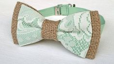 Men's lace and burlap bow tie - rustic tan burlap mint green ...