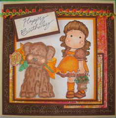 Birthday card, Magnolia Tilda with her dog