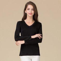 20162590b1c1d8 100% Silk V-Neck Full Sleeve T-Shirt. Tee ShirtsTeesNice TopsPure ...