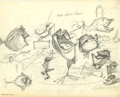 "Original pre-production drawing by Chuck Jones for his 1955 cartoon masterpiece, ""One Froggy Evening."""