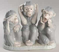 Lladro Monkeys - See no Evil, Hear no Evil, Speak no Evil Three Wise Monkeys, See No Evil, Monkey Business, My Childhood, Don't Speak, Mermaids, Polymer Clay, China, Homes