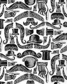 black and white fabric design, #fabric, #pattern, #vintage, #moustaches. SRVIC3BW